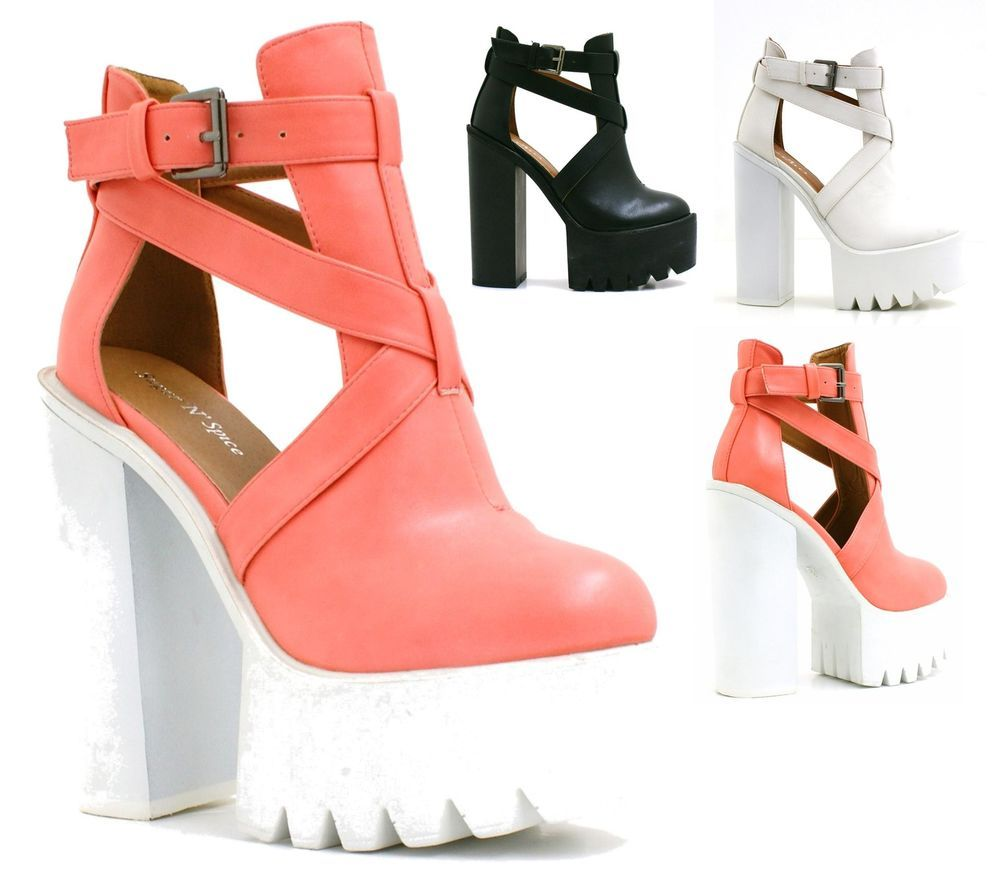 23ae8310a4b T-Bar+Cut+Out+High+Block+Heel+Shoes+Womens+Chunky+Platform +Cleated+Sole+Boots+ Unbranded+ AnkleBoots