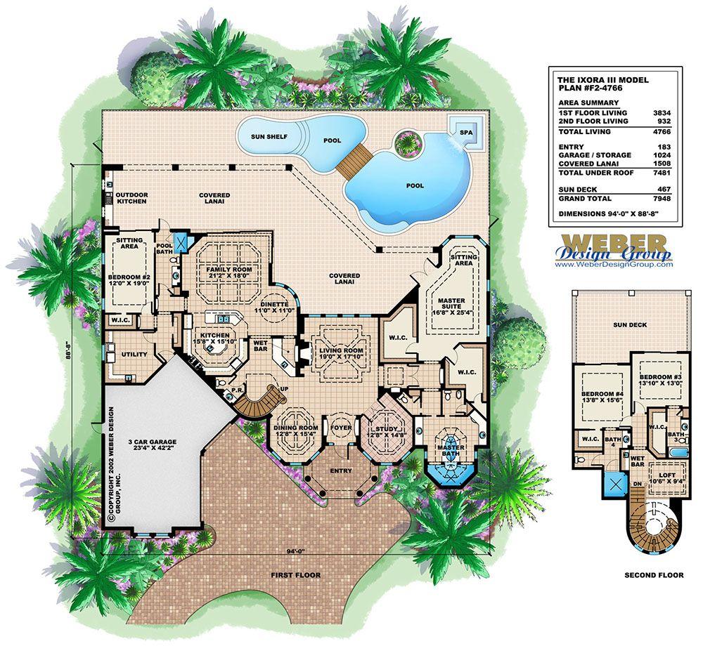 Mediterranean House Plan Luxury Waterfront Home Floor Plan Mediterranean House Designs Mediterranean House Plan House Plans