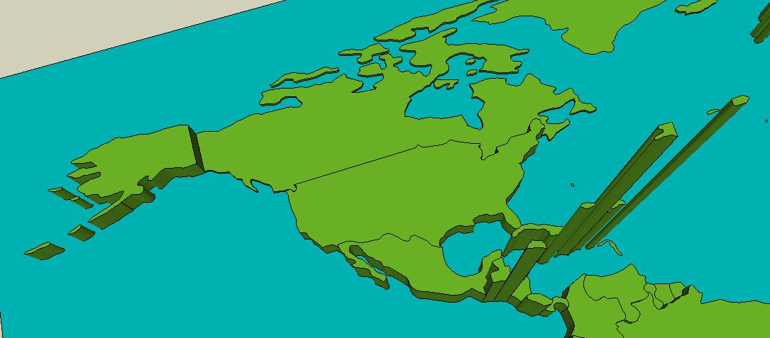 Population Density Map Of North America.3d North America And The Caribbean Population Density Map
