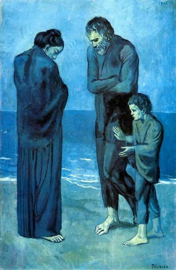 Pablo Picasso, periodo blu . Poveri in riva al mare. -si noti il ...