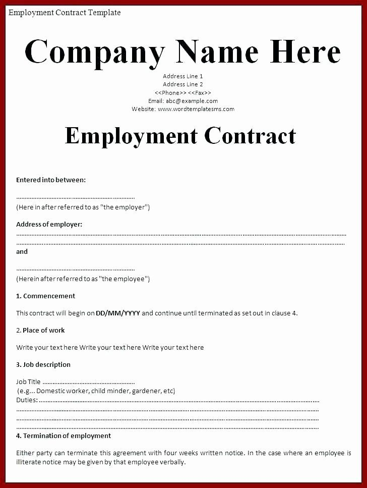 Simple Employment Contract Template Free Luxury Simple ...