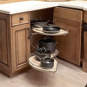Le Mans Ll Blind Corner Pull Out Lazy Susan In Chrome And Maple
