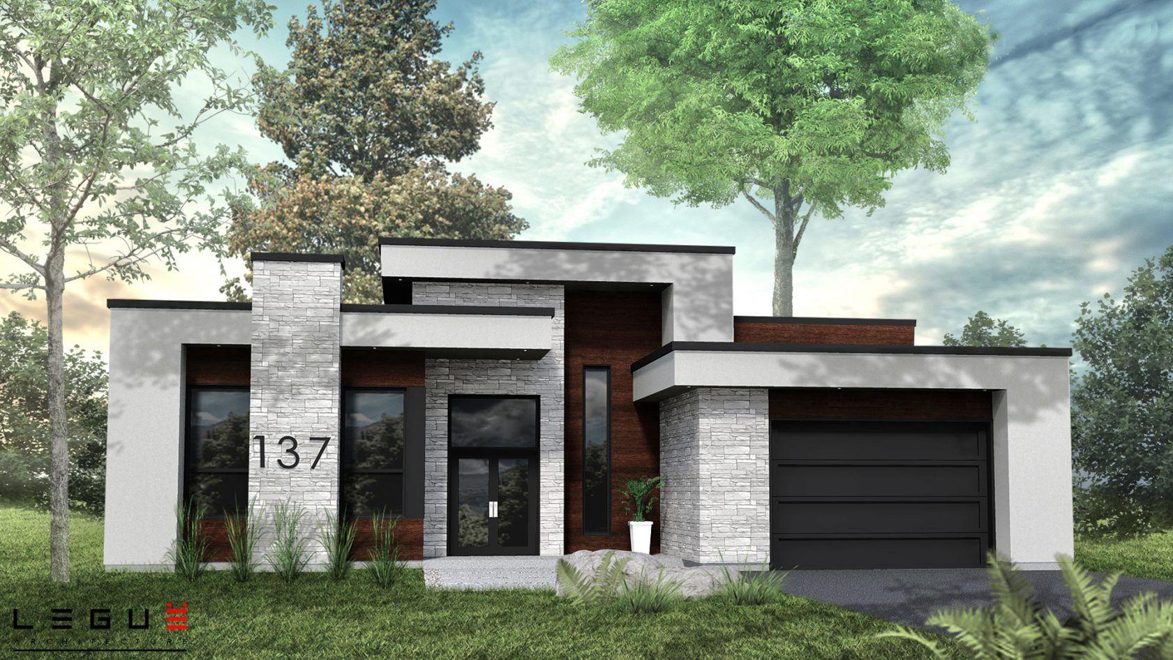 Plan de maison Ë_137 | Leguë Architecture en 2020 | Plan de maison moderne plain pied, Plan ...