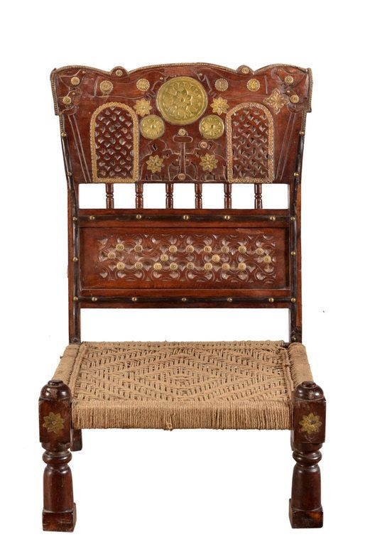Traditional Rajasthani Low Chair Teal Frame With Brass Work