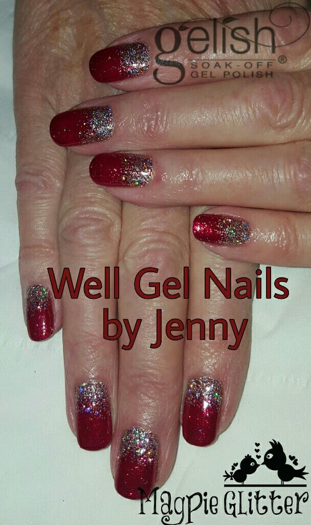 Gelish and Glitter red Christmas nails | Well Gel Nails by Jenny ...