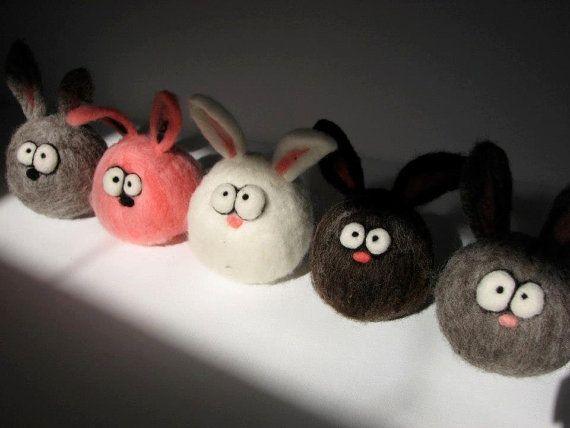 Custom Needle Felted Micro Easter or Anytime Bunny by KooWooL #needlefeltedbunny