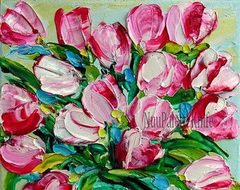Tulip Art Small Oil Painting Pink Flower Textured Impasto Palette Knife Mini Small Canvas Framed or Unframed Option Wedding Gift for Her 6x6