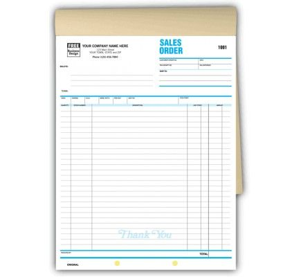 Extra Long Sales Order Forms Carbonless Item No B Size