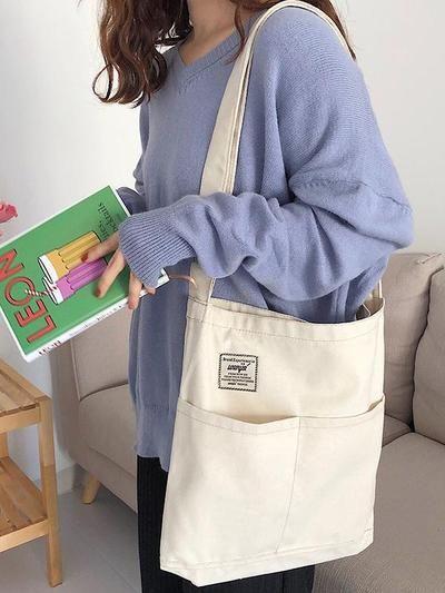 Simple Solid Color With-pockets Canvas Handbag