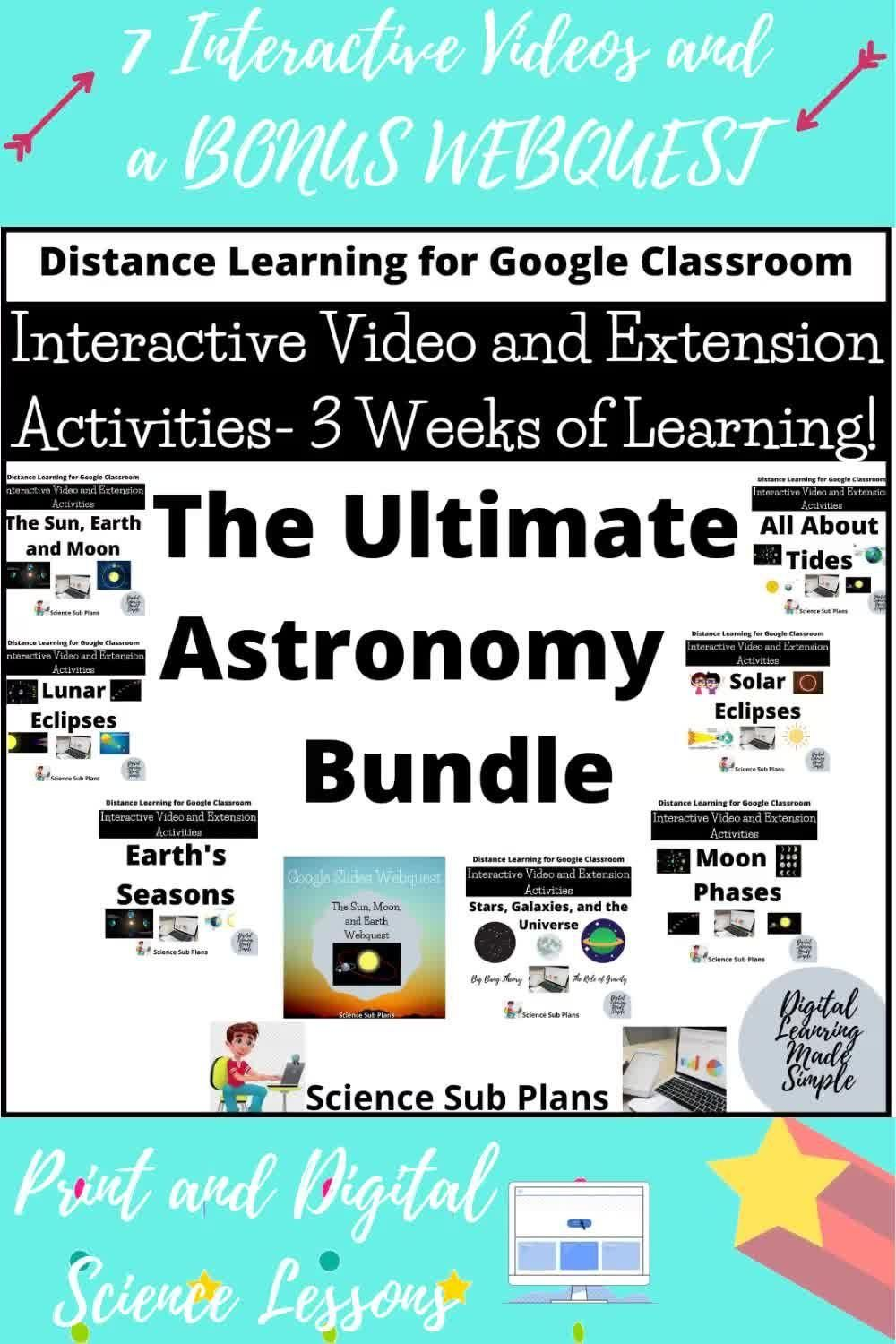 Astronomy Interactive Videos And Webquests Remote Learning About The Sun Moon And E In 2020 Science Lessons Science Lessons Elementary Science Lessons Middle School