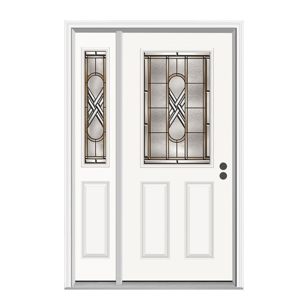 Jeld Wen 36 In X 80 In Ascot 1 2 Lite Primed Premium Steel Prehung Front Door With Left Hand Sidelite White Jeld Wen Front Door Steel Entry Doors