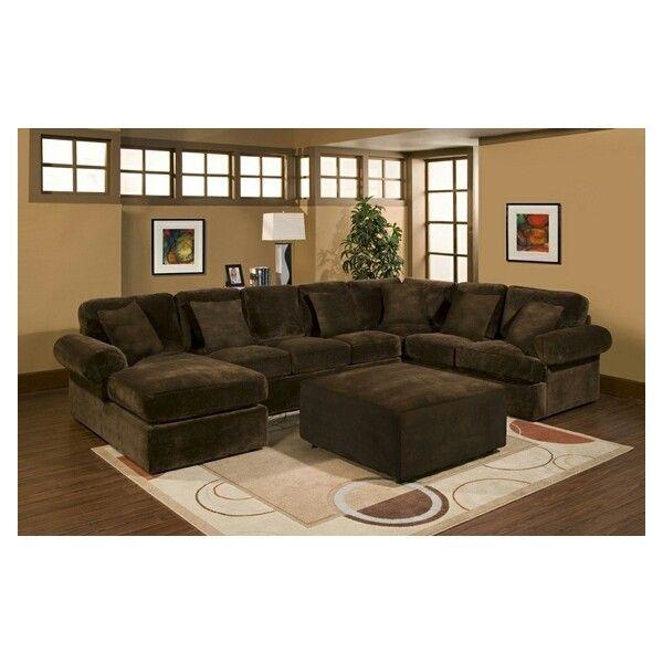 3 pc Bradford sectional sofa with chocolate plush velour microfiber ...