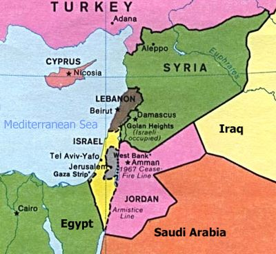 here is a map of israel and its bordering countries from the