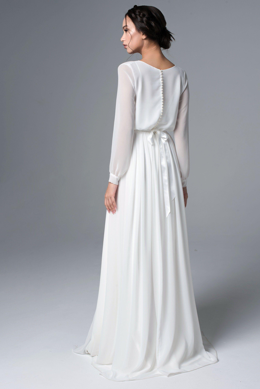 Long Sleeve Wedding Dress Simple Wedding Dress Chiffon Etsy Wedding Dresses Simple Long Sleeve Chiffon Dress Long Sleeve Wedding Dress Boho [ 3000 x 2002 Pixel ]