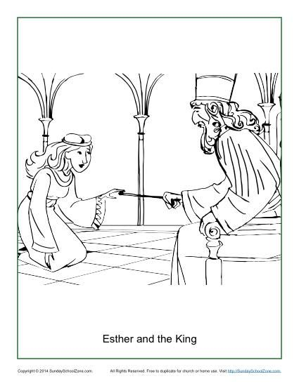 Esther and the King Coloring Page | Children\'s Bible Coloring Pages ...