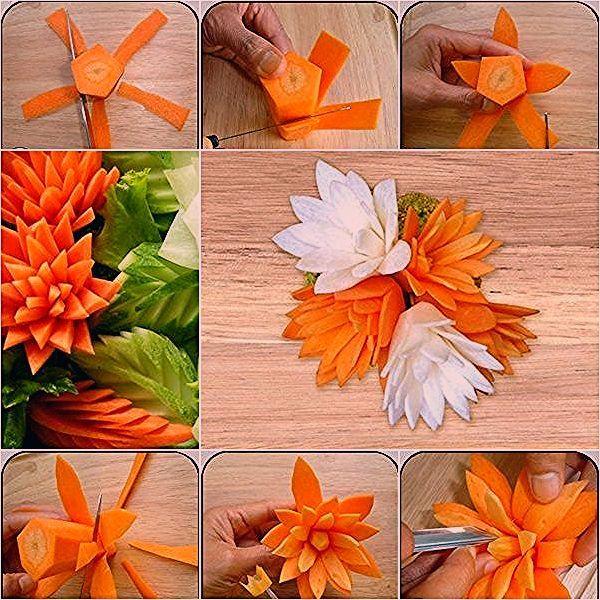 How to DIY Pretty Carrot Flowers for Dish Garnish - DIY Tutorials