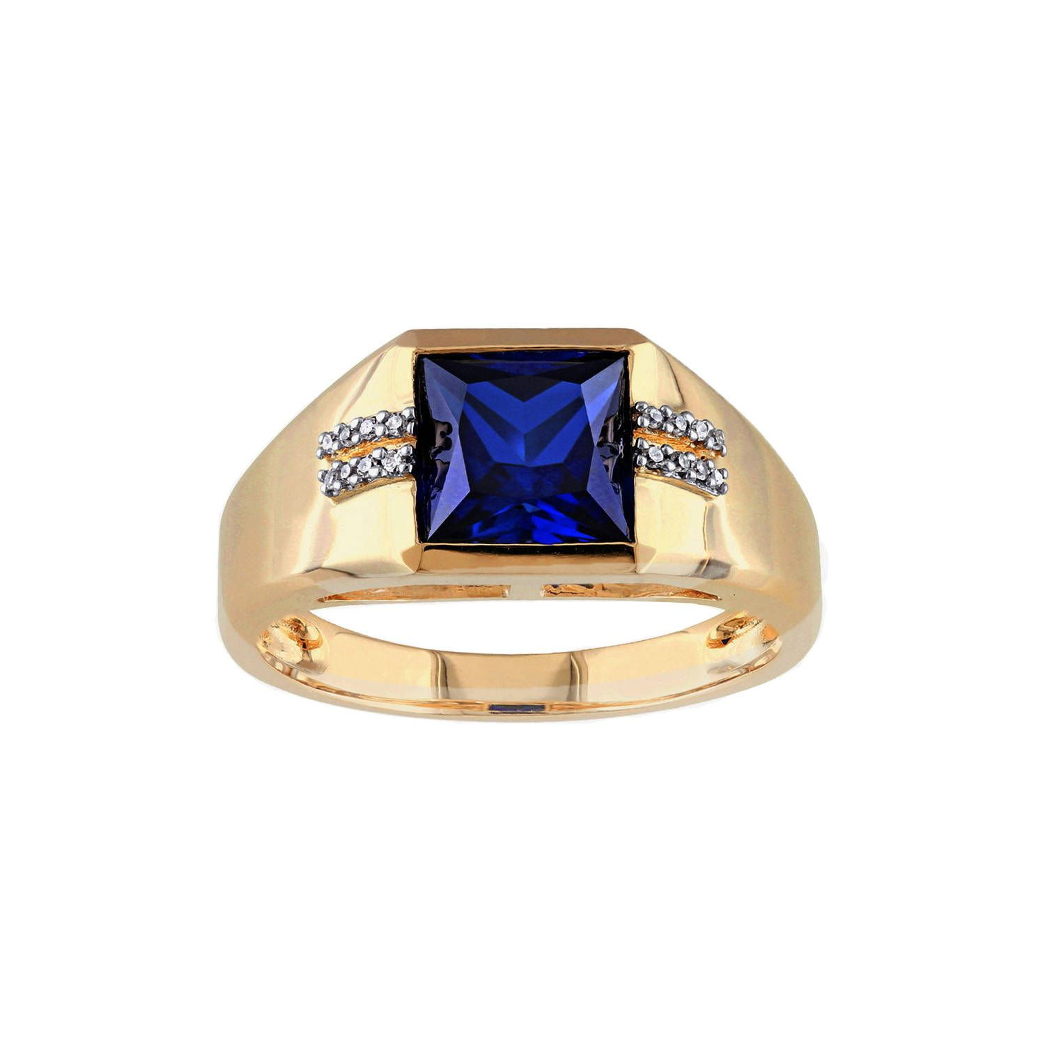 Primo Elite Men S Created Blue Sapphire And Diamond Accented Fashion Ring In 10k Yellow Gold Fashion Rings Diamond Fashion Rings Blue Sapphire