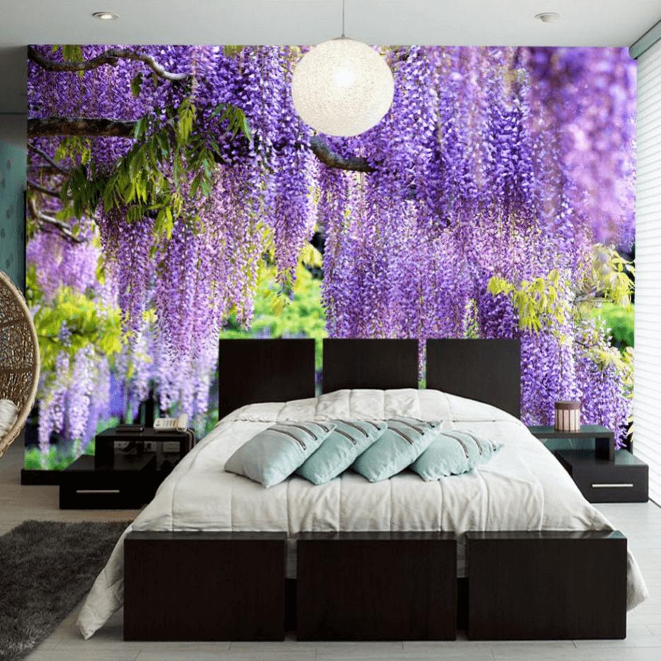 Schlafzimmer Design Lila Wände