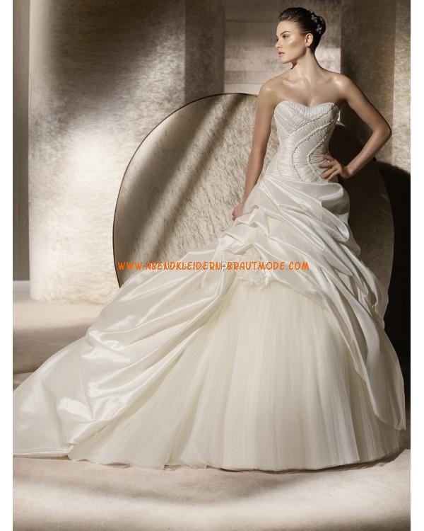 2013 Traumhafte Luxuriöse Brautmode aus Taft und Softnetz mit Kapelleschleppe