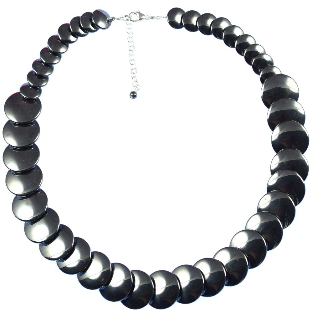 HEMATITE LARGE BUTTON NECKLACE    Hematite and sterling silver necklace.    Cute button necklace that works well with any outfit. Matching items available.  ...  Colour: Black/Grey    Size: 45cm    £52.50     http://www.gemjewelleryshop.com/product-information/36/391/hematite-large-button-necklace/