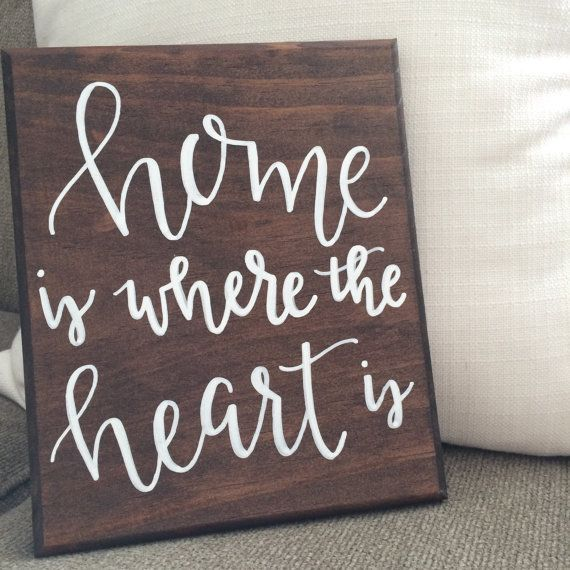 Home Is Where The Heart Is Hand Painted Wooden Sign Home Decor Housewarming Gift Etc