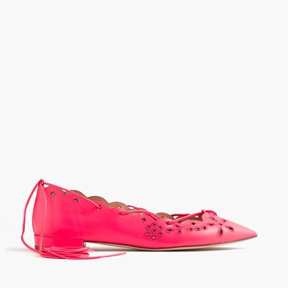 """Our favorite kind of flats? Ones with eyelet leather that lace up and wrap around the ankle. <ul><li>5/8"""" heel.</li><li>Leather upper and lining.</li><li>Made in Italy.</li><li>These colors really pop, but you can't tell just how vibrant they are until you see them in person.</li></ul>"""