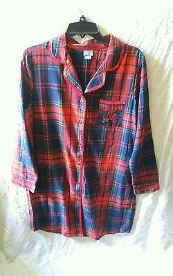 bafffb54f6 Laura Scott Red Blue Plaid Flannel Nightgown Sleep Shirt Size Medium ...