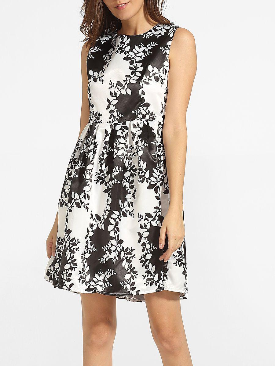 #AdoreWe #FashionMia Skater Dresses - FashionMia Round Neck Dacron Printed Skater-dress - AdoreWe.com