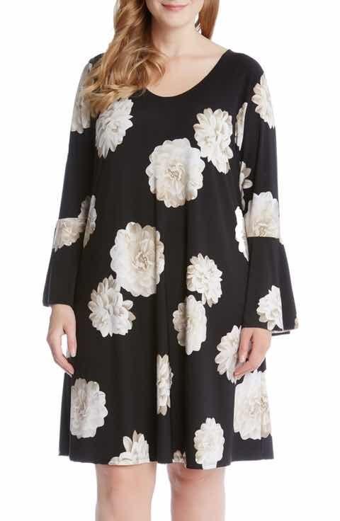 Karen Kane Taylor Floral A-Line Dress (Plus Size)