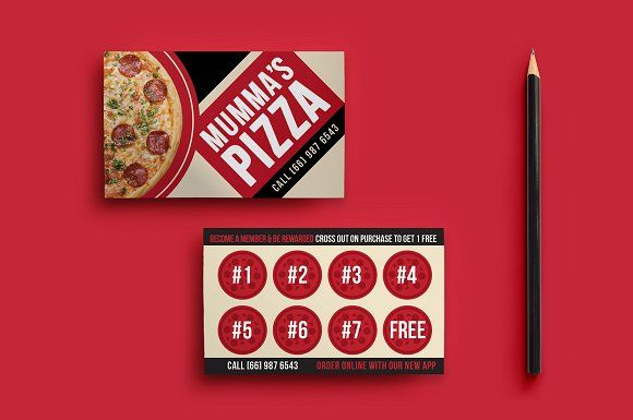 Pizza Restaurant Loyalty Card By Brandpacks On Graphiczn
