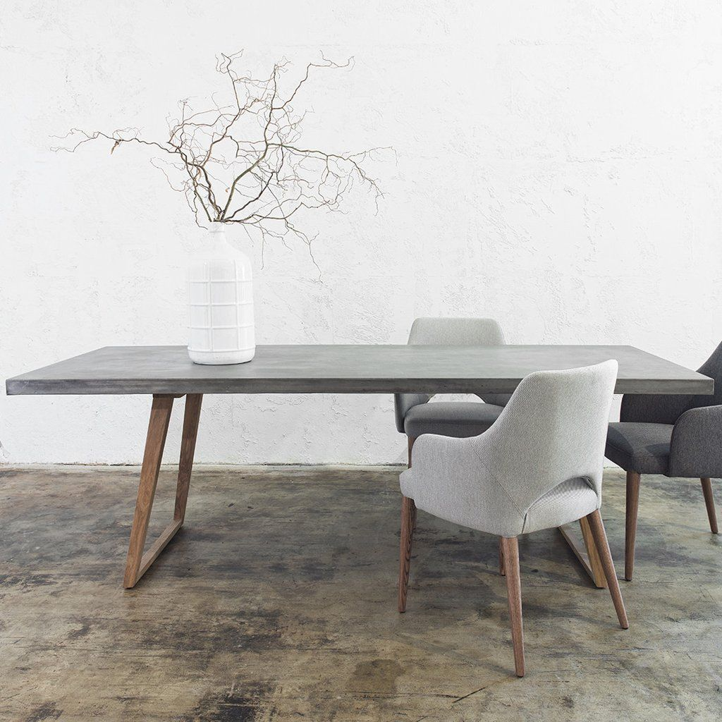 Concrete dining table scandi teak leg 2200 x 900 grey for Designer dining room chairs
