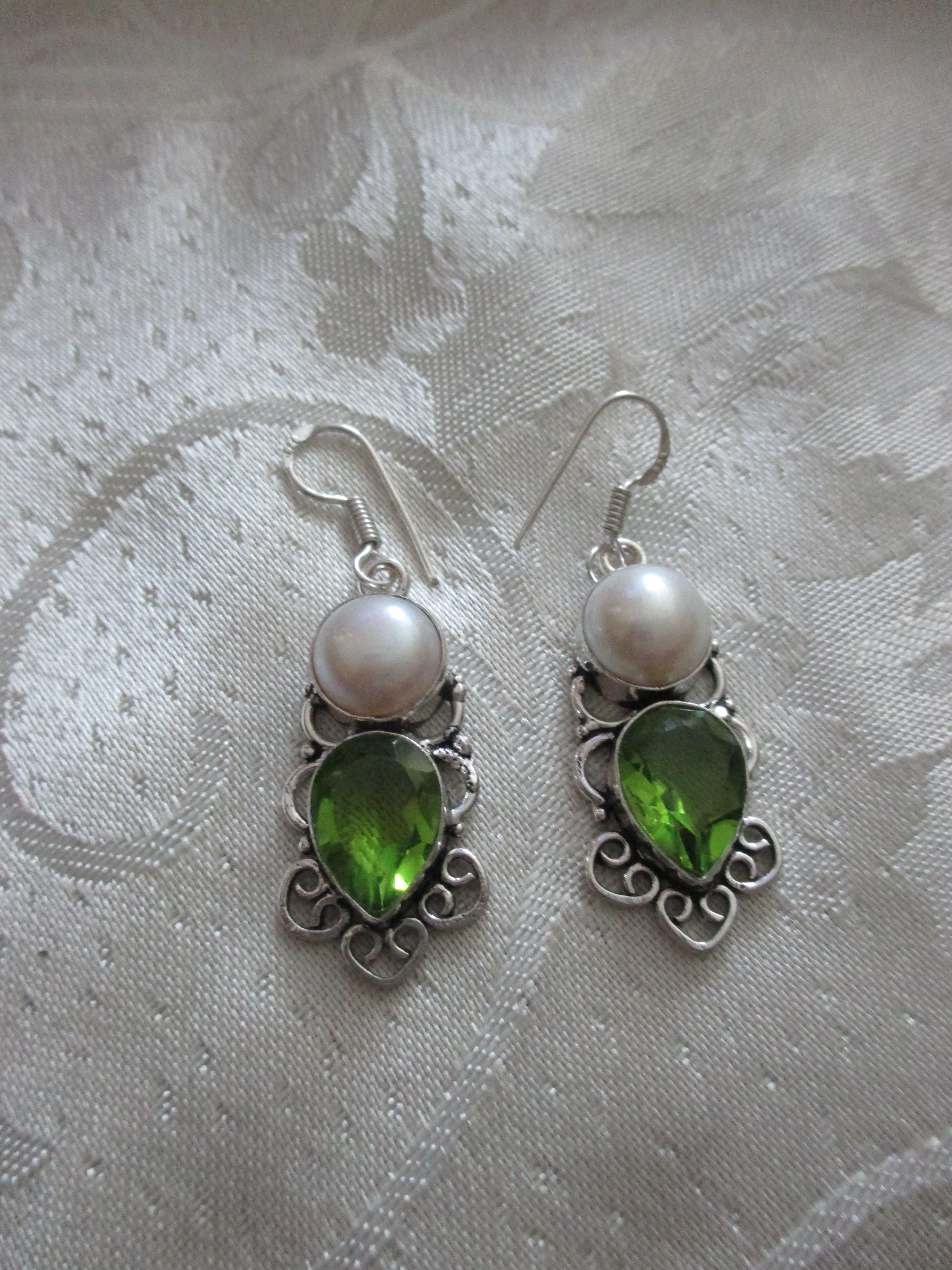 """Antique style Peridot 925 silver overlay earrings handmade brand new with out tags size 2"""""""