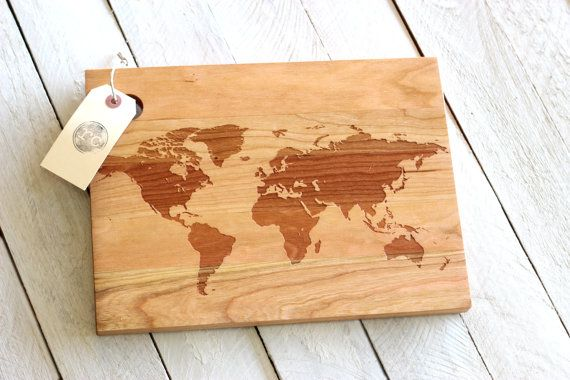 This beautiful rustic cutting board is made of either cherry or this beautiful rustic cutting board is made of either cherry or maple wood and features a crisp modern world map design etsy gumiabroncs Choice Image