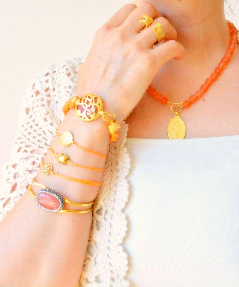 Orange Beaded Necklace Unique Long Necklace Tassel Necklace Boho Wrap Bracelet Protection Jewelry Artisan Jewelry Gemstone Bracelet