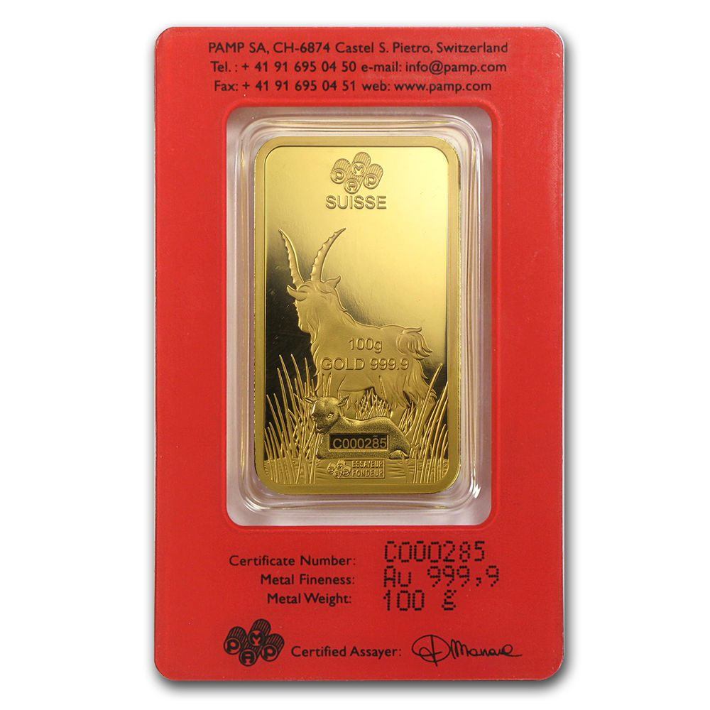 100 Gram Gold Bar Pamp Suisse Year Of The Goat In Assay Sku 86050 Buy With Confidence Free Shipping From Apmex On Ebay Oro Puro Oro Dinero