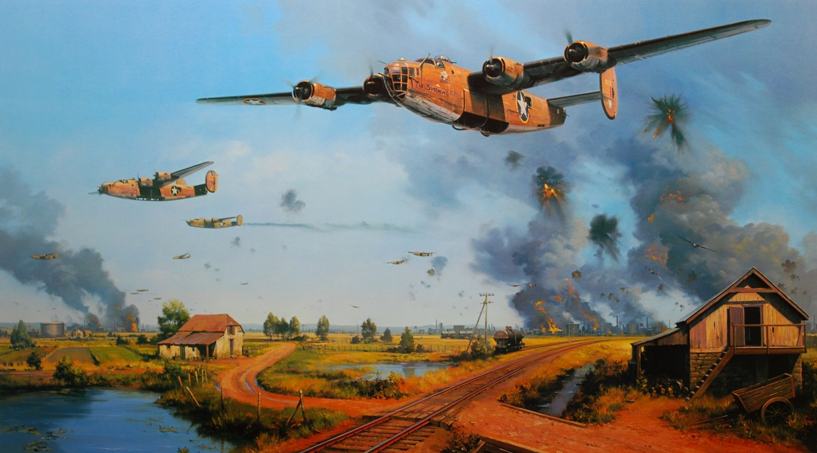 Painting of B24 Consolidated Liberator bombers on a