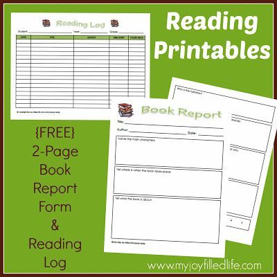 FREE Reading Log \ Book Report Form Reading logs, Report writing - printable book report forms