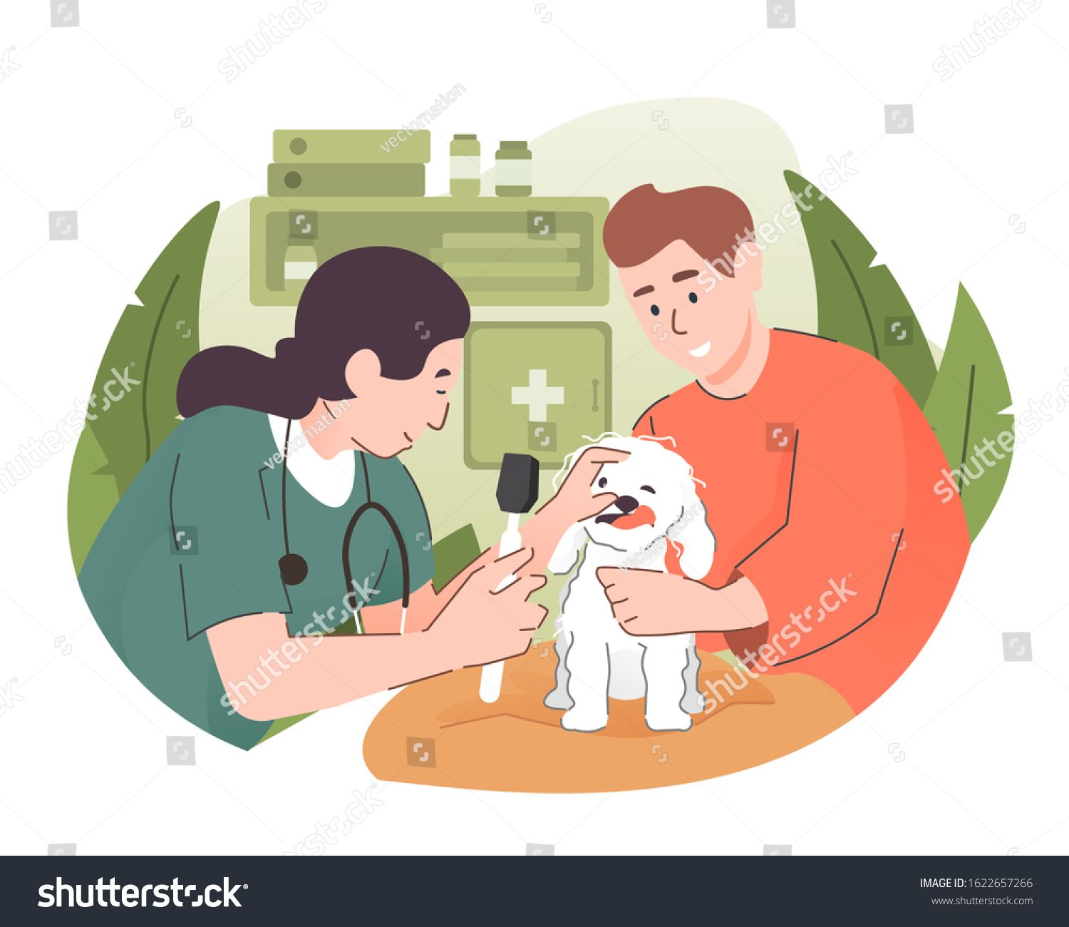 Veterinarian Doctor Examining A Dog At Vet Clinic Pet Health Care And Medical Concept Ad Sponsored Dog Vet Examin Pet Health Care Vet Clinics Pet Health