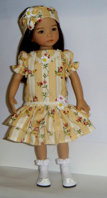 Effner Little Darling Roses In The Garden Long Waist Dress With Headband
