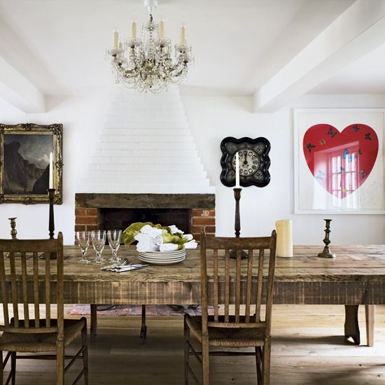 heart, antique painting,dining room, rustic table House dreaming