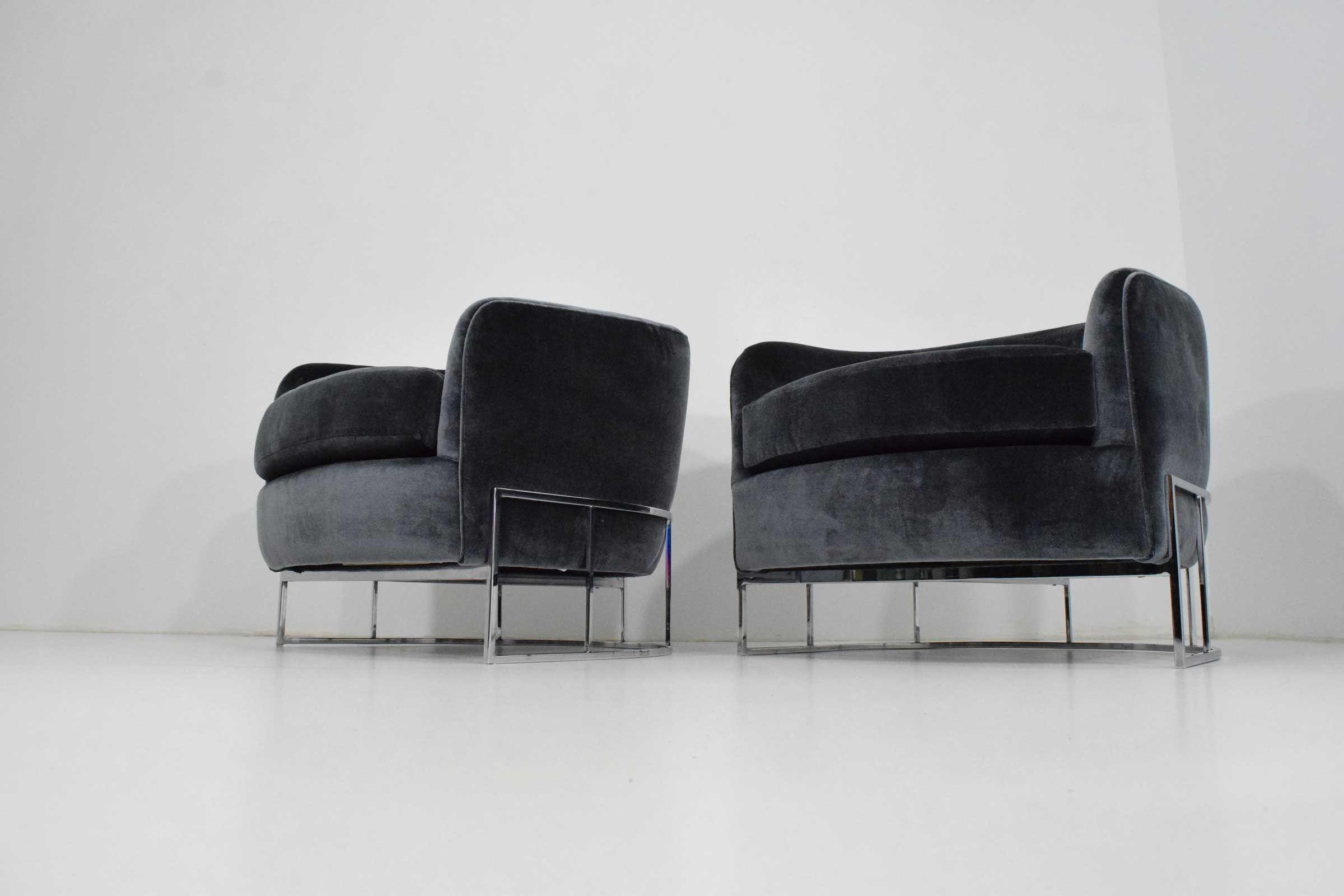 Milo baughman lounge chairs in velvet