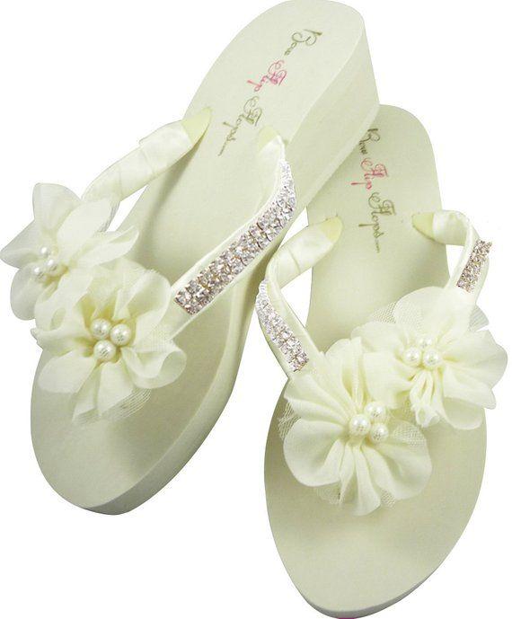 13717e9475513 Bridal Wedge Flip Flops