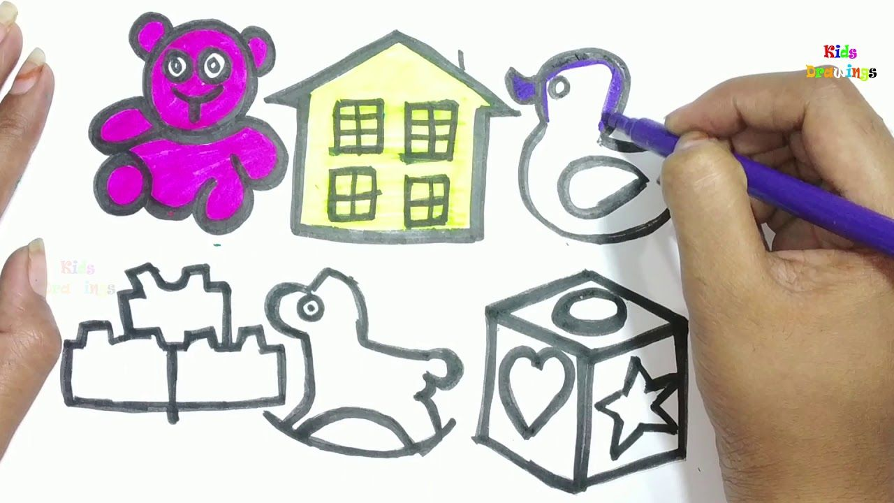 Baby Toys Drawing Learn How To Draw Baby Toys Drawing And Coloring For Baby Drawing Coloring For Kids Rhymes For Babies