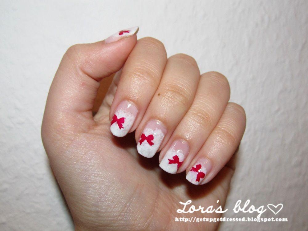 nails, christmas nails, french nails, bow nails,