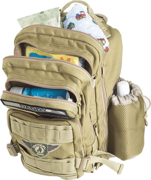 khaki dad on diaper duty d o d d xh backpack w badges dad baby baby gear and diaper bag. Black Bedroom Furniture Sets. Home Design Ideas