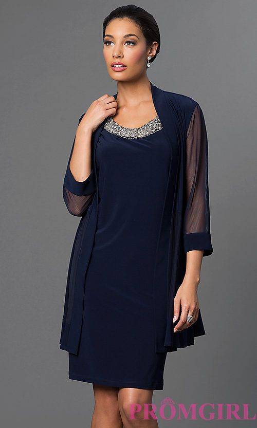Image Of Navy Blue Knee Length Dress With Jacket By Morgan Style