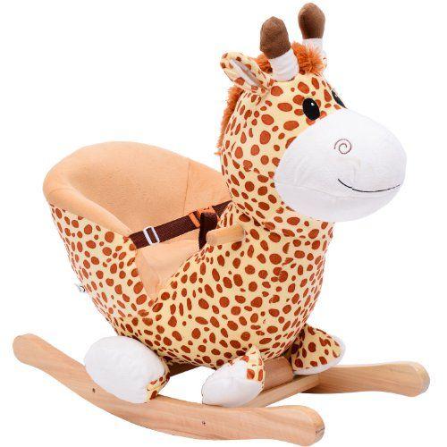 Qaba Kids Plush Rocking Horse Style Giraffe Theme Chair