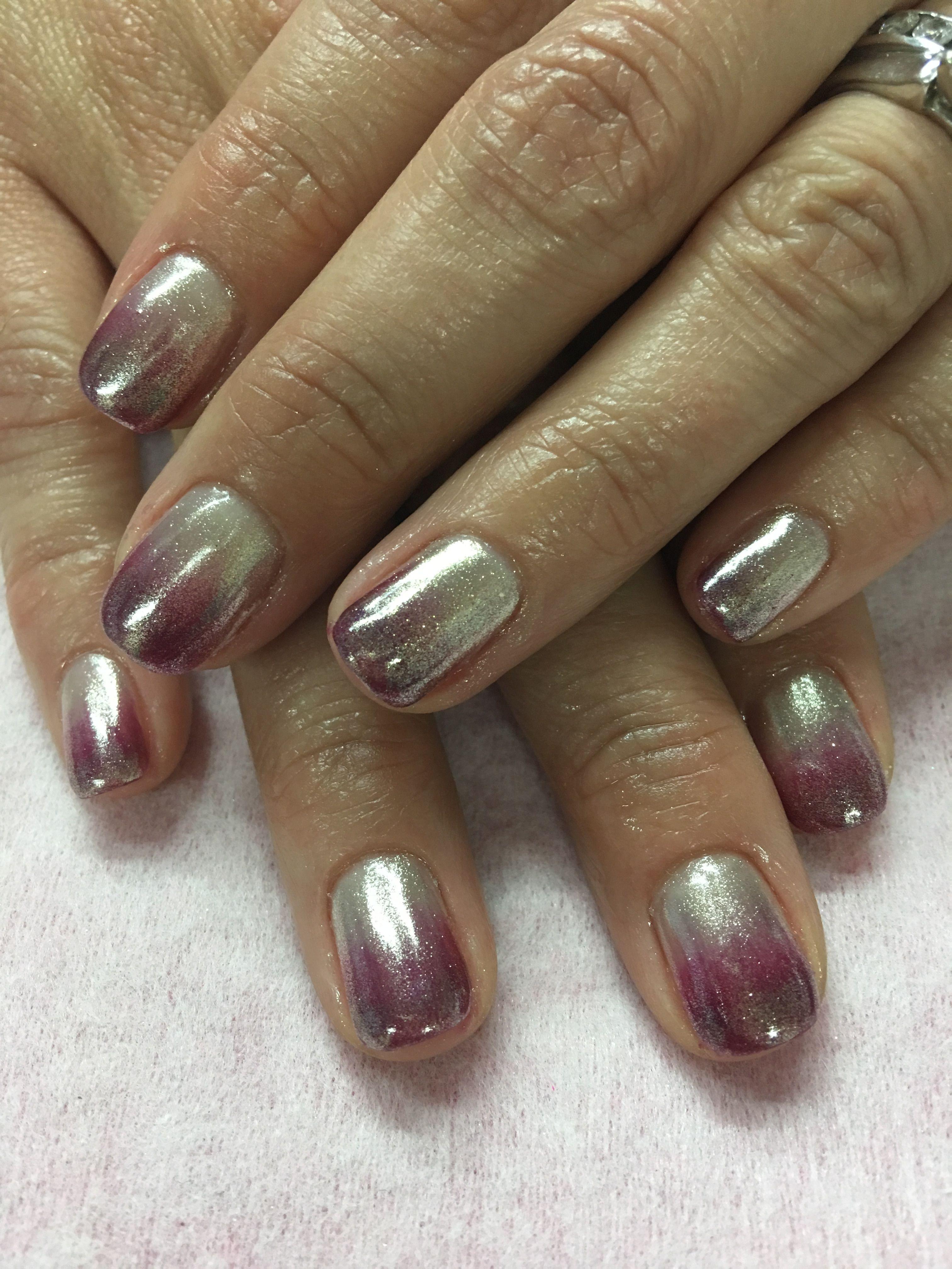Dark Purple Pink Ombré Chrome Gel Nails | Gel Nail designs | Pinterest