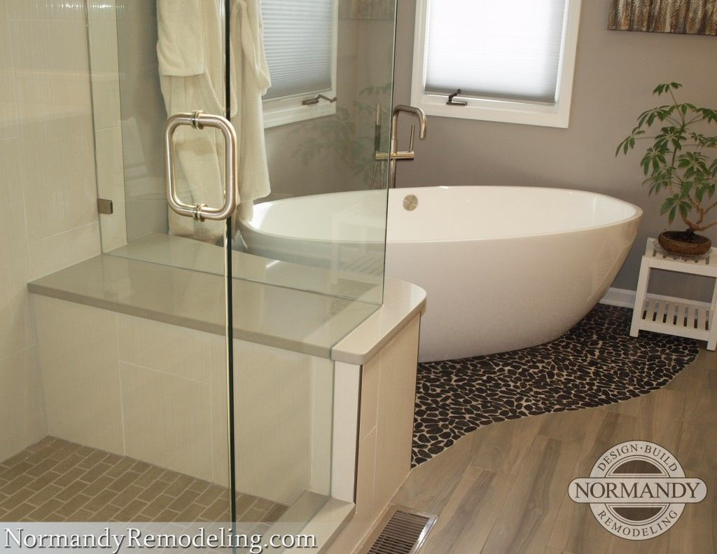 Check Out The Pebble Floor Under The Freestanding Bathtub
