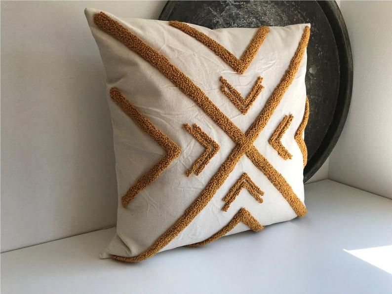 punch needle pillow Cover Handmade Pillow Cover mud cloth pillow mustard Pillow Cover Cotton Pillow Case Mustard Farmshouse Pillow